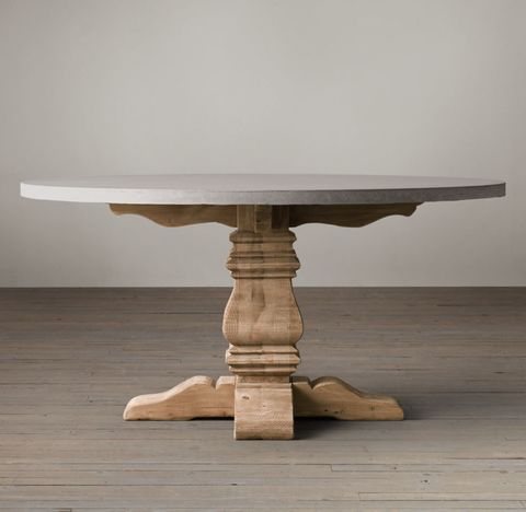 Salvaged Wood & Weathered Concrete Trestle Round Dining Table