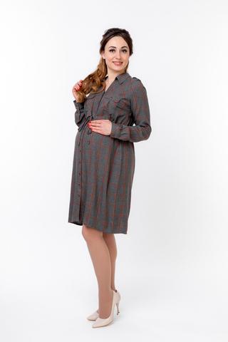 Платье 09829 серый/ оранжевый