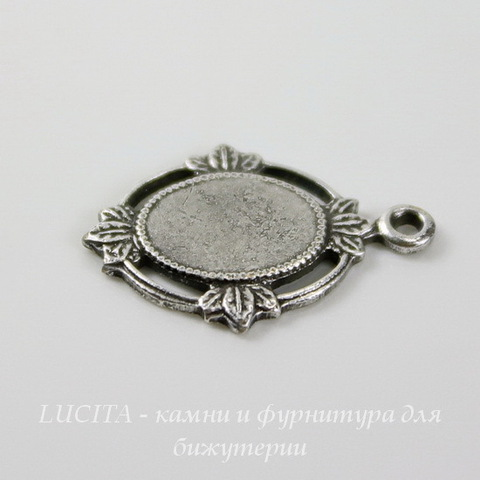 """Сеттинг - основа - подвеска """"Листики"""" для камеи или кабошона 8х6 мм (оксид серебра) ()"""