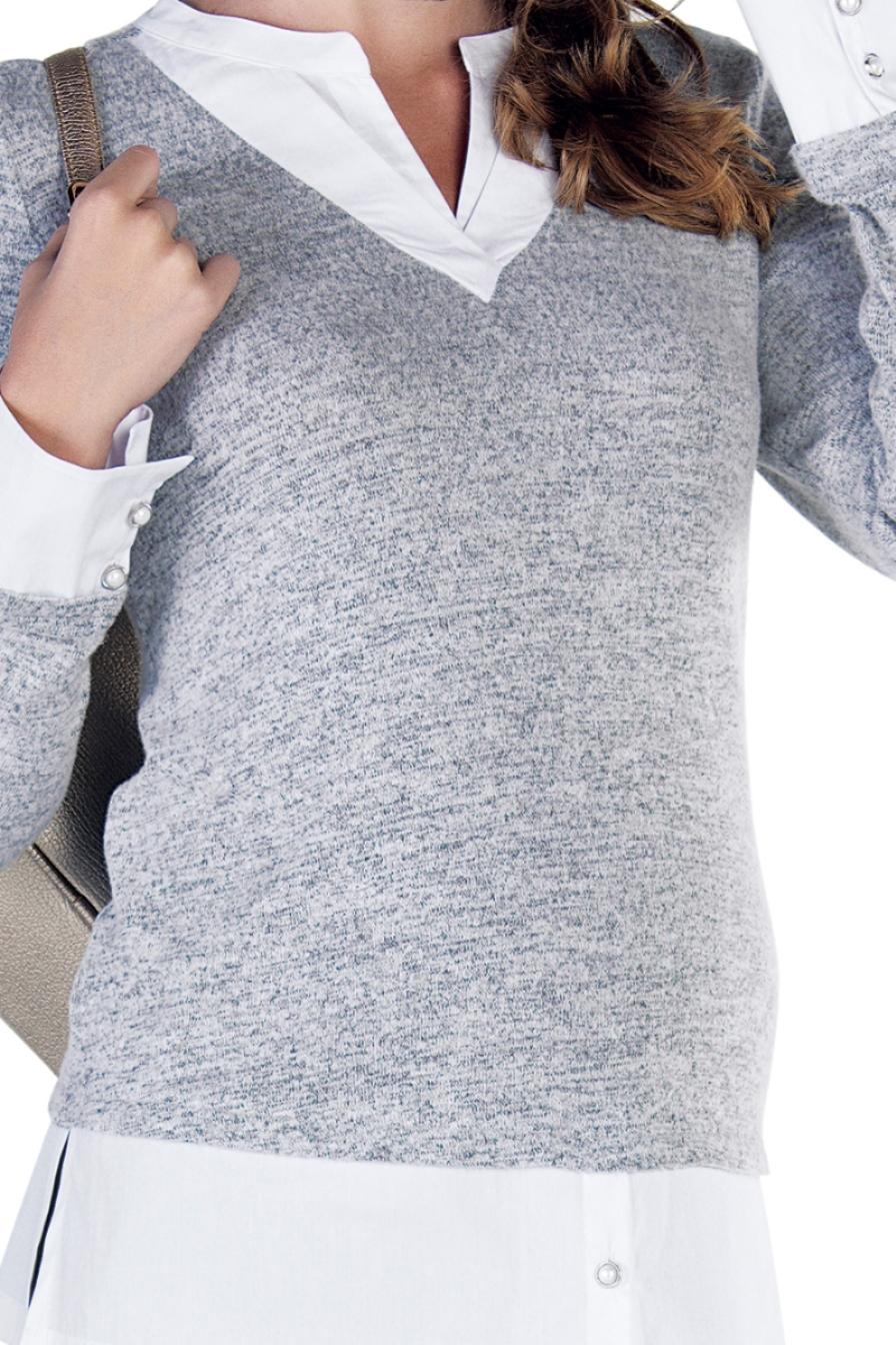 Блузка 09857 серо-белый