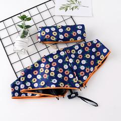 Японский маленький плоский зонт с защитой от солнца синего цвета с цветами