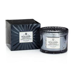 Ароматическая свеча Voluspa Черное дерево и персик в подарочной коробке