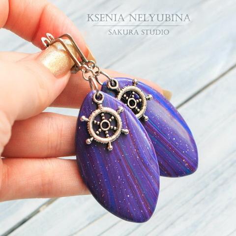 """Подвеска """"Штурвал"""" 20х15 мм (цвет - античное серебро) (Фиолетовые серьги ручной работы. Пример)"""