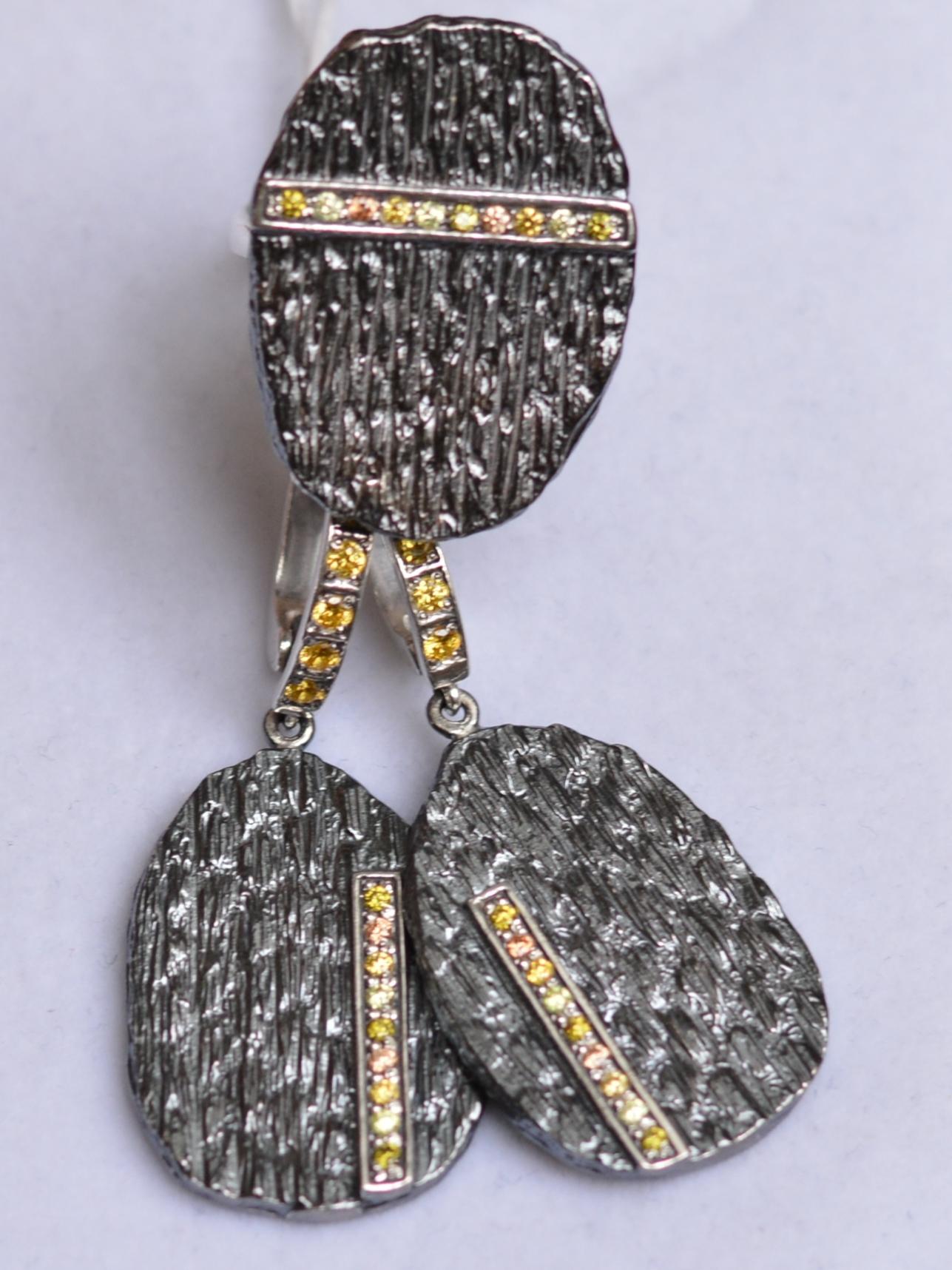 Жаккард (кольцо + серьги из серебра)