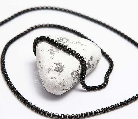 Черная мужская цепочка из стали (60 см)