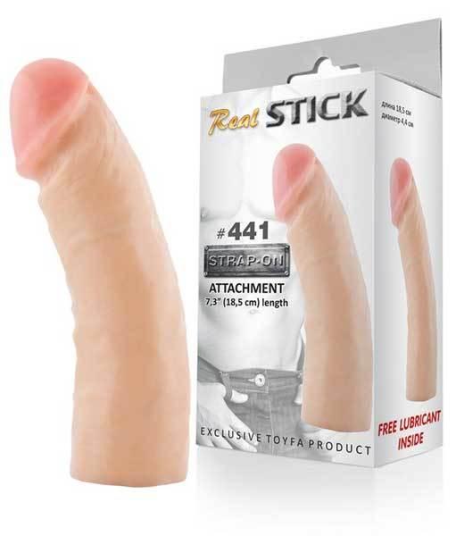 Трусики и насадки: Фаллоимитатор-насадка RealStick #441 - 18,5 см.