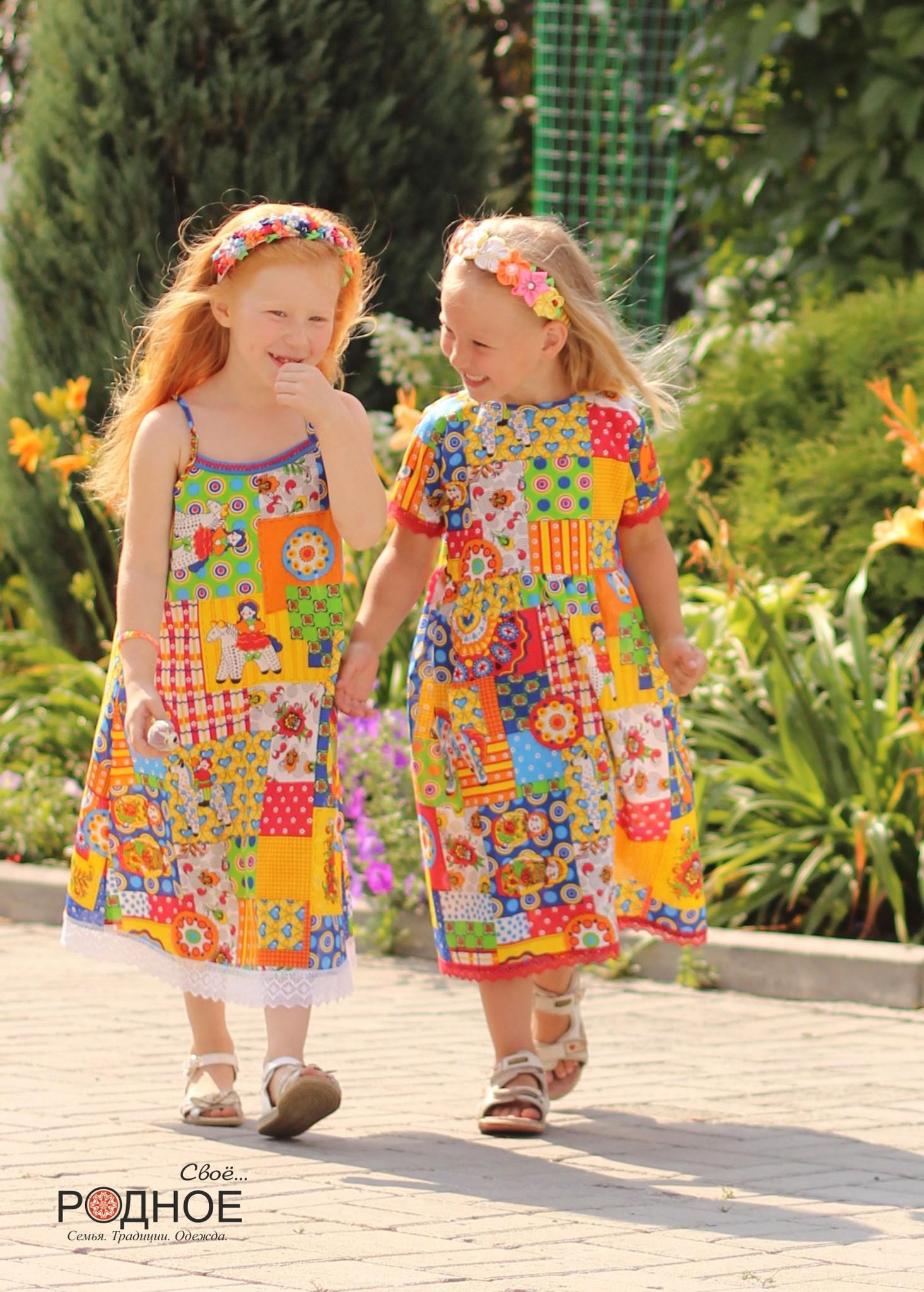 Платье Дымковская игрушка 02 с сарафаном