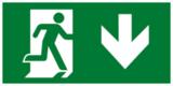 Выход здесь правосторонний - современный эвакуационный знак