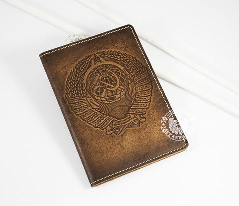 BY14-25-01 Обложка на паспорт ручной работы &#34СССР&#34