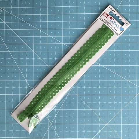Молния  декоративная потайная 40 см (зеленая), Prym Love. (Арт. 418414)