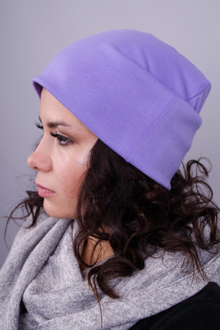 Фэшн. Молодёжные женские шапки. Сиреневый.