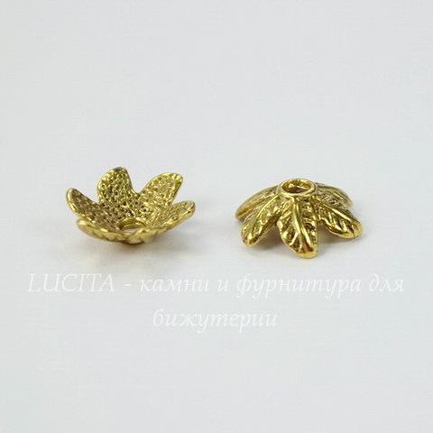 """Шапочка для бусины """"6 листиков"""" 11х4 мм (цвет - античное золото), 10 штук"""