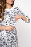 Платье 09917 серый-белый