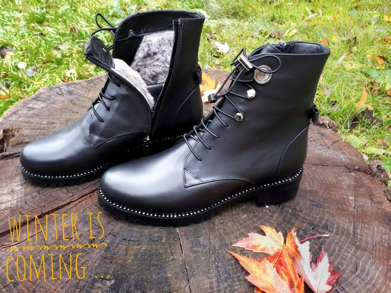 6e1d88011eb8 Ботинки женские кожаные зимние с мехом, на низком каблуке Tucino на ...