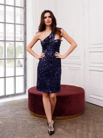 Платье темно-синее на одно плечо пайетки