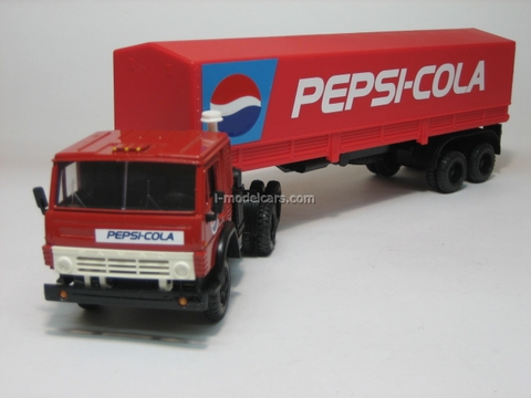 KAMAZ-5410 with semitrailer ODAZ with awning Pepsi red Elecon 1:43