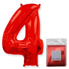 F Цифра 4, Красный, 40''/102 см, 1 шт. в упаковке