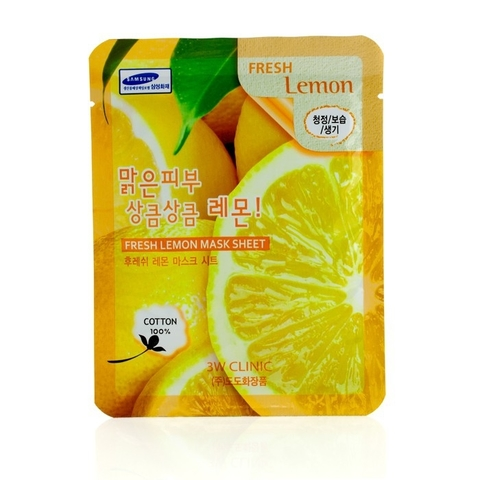 3W CLINIC Тканевая маска для лица с экстрактом лимона Fresh Lemon Mask Sheet (23мл)