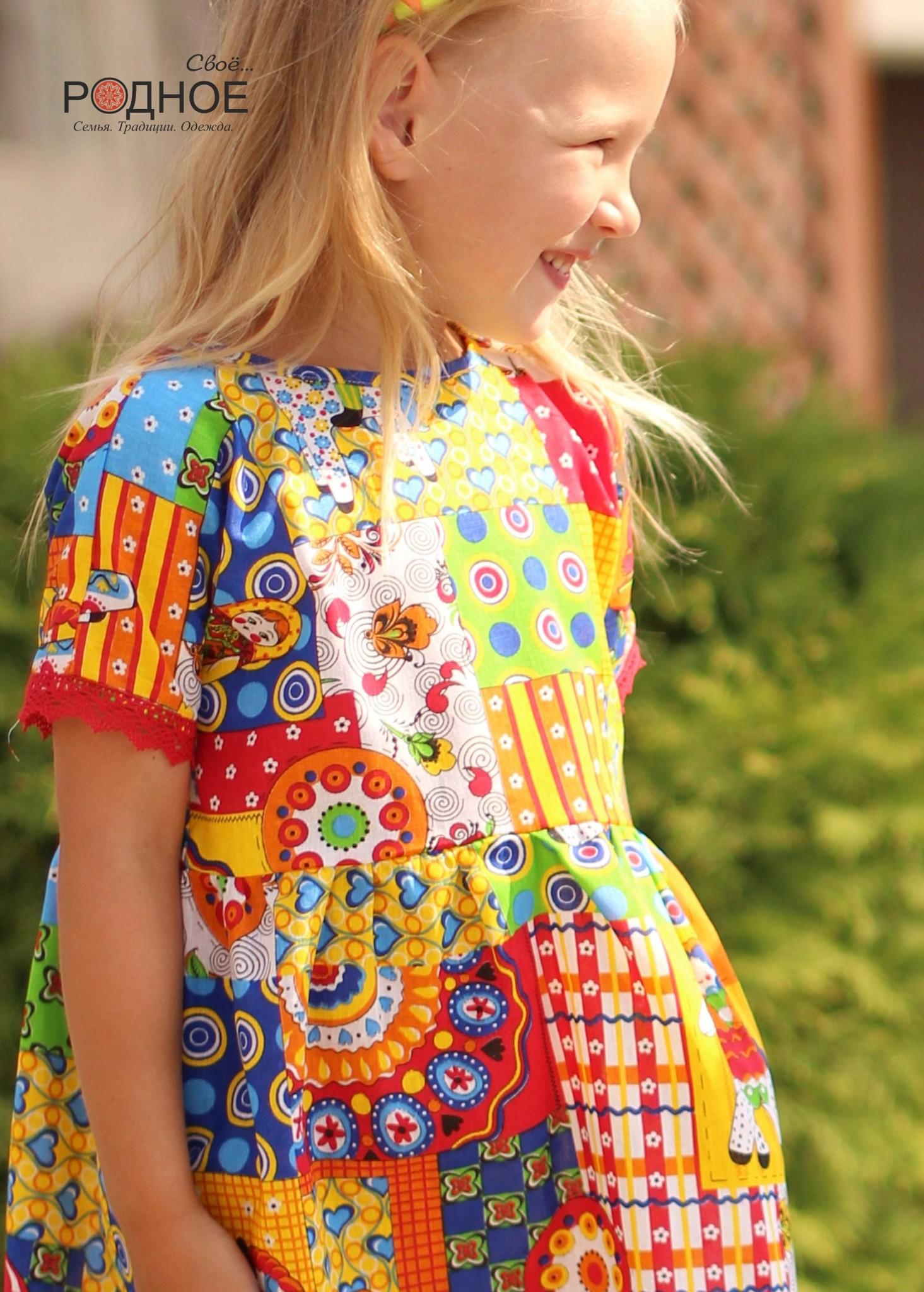 Платье Дымковская игрушка 02 увеличенный фрагмент