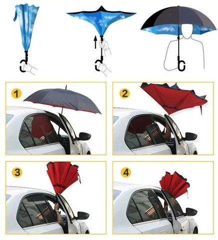 Зонт-Наоборот сделан так, что теперь вы сможете легко выйти из маши...