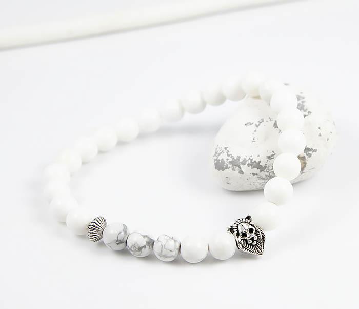 цены Boroda Design, Мужской браслет из белого агата со львом, ручная работа