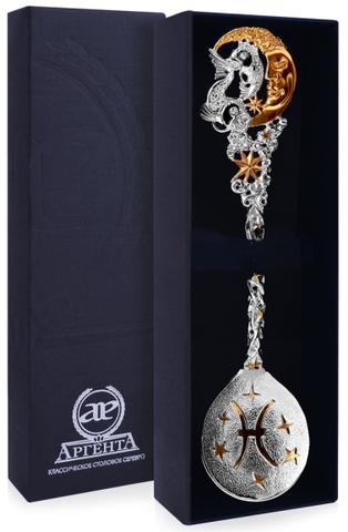 Серебряная ложка «Зодиак-Рыба» с позолотой