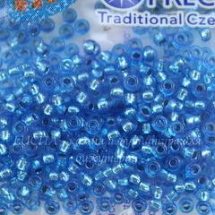 08236 Бисер 10/0 Preciosa Кристалл синий джинсовый с серебряным центром
