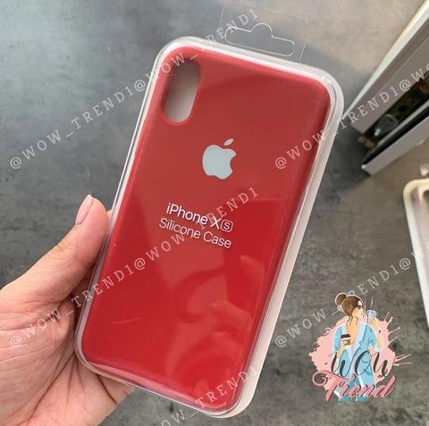 Чехол iPhone X/XS Silicone Case Full /camellia white/ винный