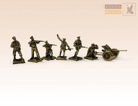 Набор солдатиков Морская Пехота Оборона Севастополя (6 шт.) с пушкой (РККА 1942)