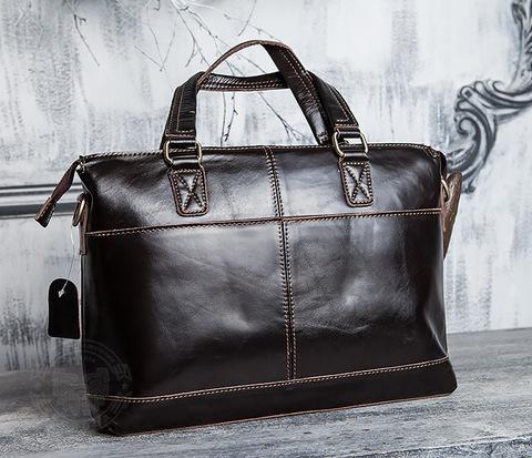 Шикарная мужская сумка из натуральной кожи с ремнем на плечо