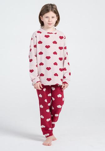 Домашний костюм  с сердечками для девочек