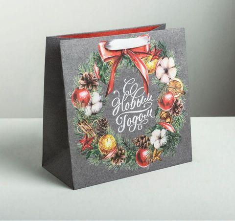 Подарочный пакет (новогодний, серый)