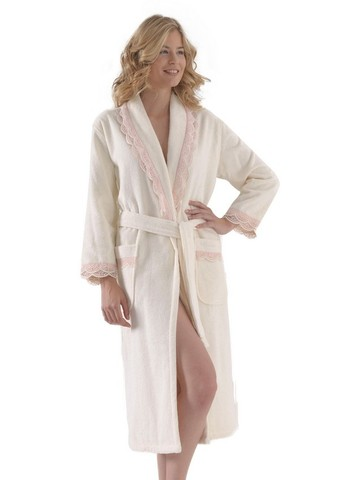 BUKET - БУКЕТ кремовый махровый женский халат Soft Cotton (Турция)