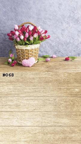 Фотофон виниловый стена-пол «Тюльпаны в корзине» №068