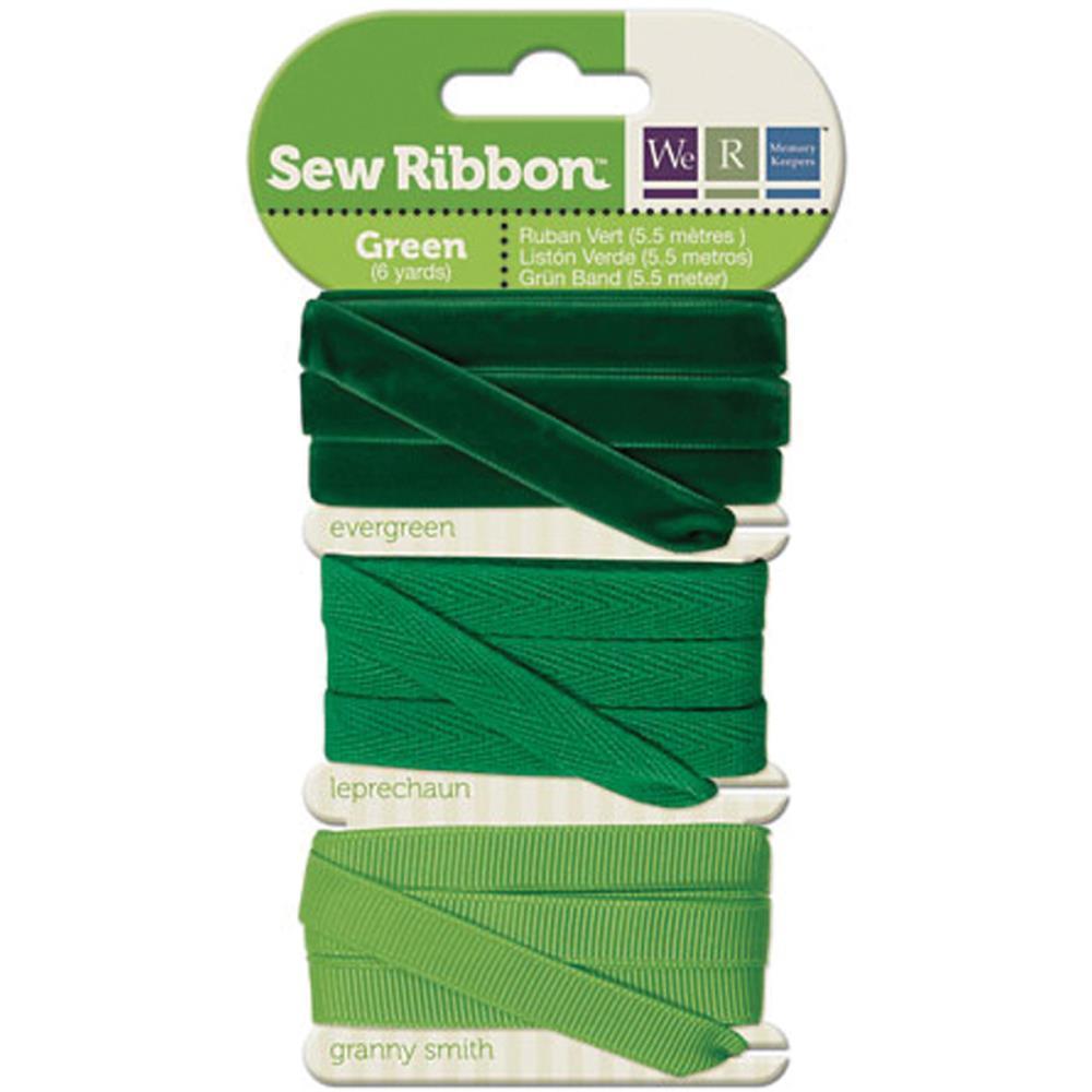 Набор лент. We R Memory Keepers Sew Ribbon - 5,5м- Green