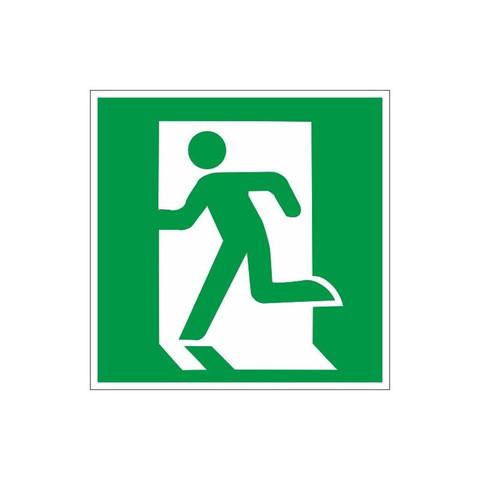 Знак безопасности E01-01 Выход здесь (левостор) (плёнка, 200х200)