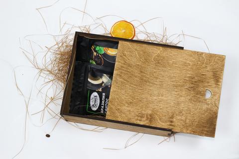Малый набор кофе и чая №1 в деревянном коробе