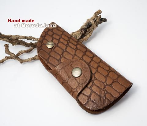 Ключница из натуральной кожи с металлическим кольцом