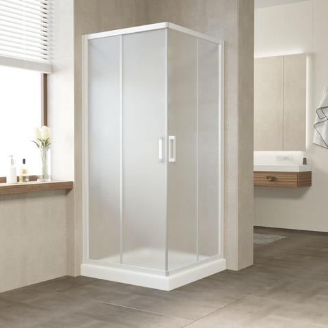 Душевой уголок Vegas Glass ZA профиль белый, стекло сатин