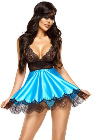 Очаровательная сорочка Eve голубого с черным цветом, выполнена из атласа и красивого нежного кружева
