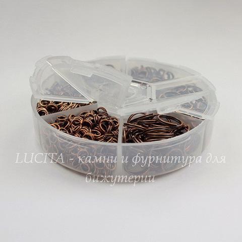 Набор колечек двойных (примерно 850 шт) в контейнере (цвет - античная медь) 4-10х1,3-1,5 мм