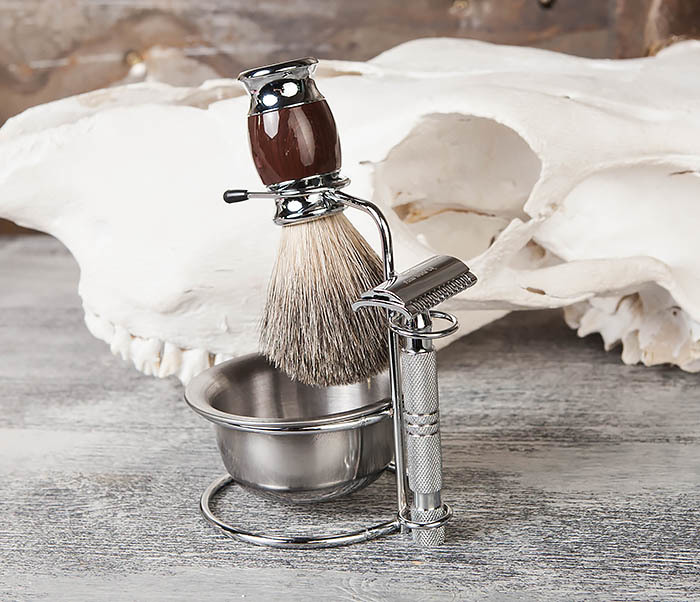 RAZ328 Стальная чаша для бритья в подставкой для бритвы и помазка фото 02