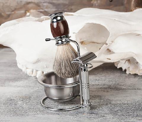 RAZ328 Стальная чаша для бритья в подставкой для бритвы и помазка