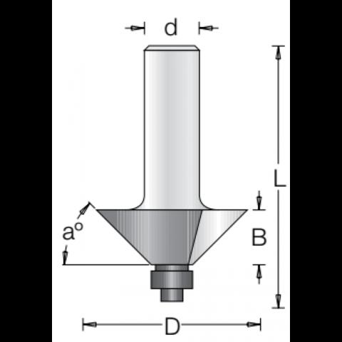 Фреза для снятия фаски с нижним подшипником 45 градусов DIMAR 50.8x19.1x69x12 1180049