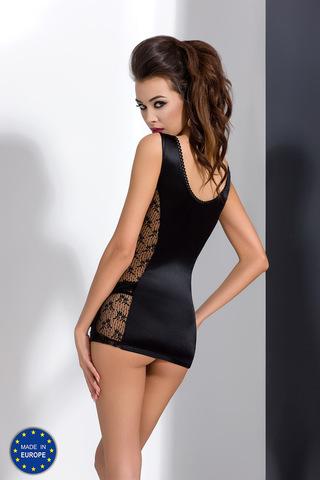 Ажурная сорочка бэбидолл черная короткая комплект с трусами сексуальная эротическая польская Passion вид сзади
