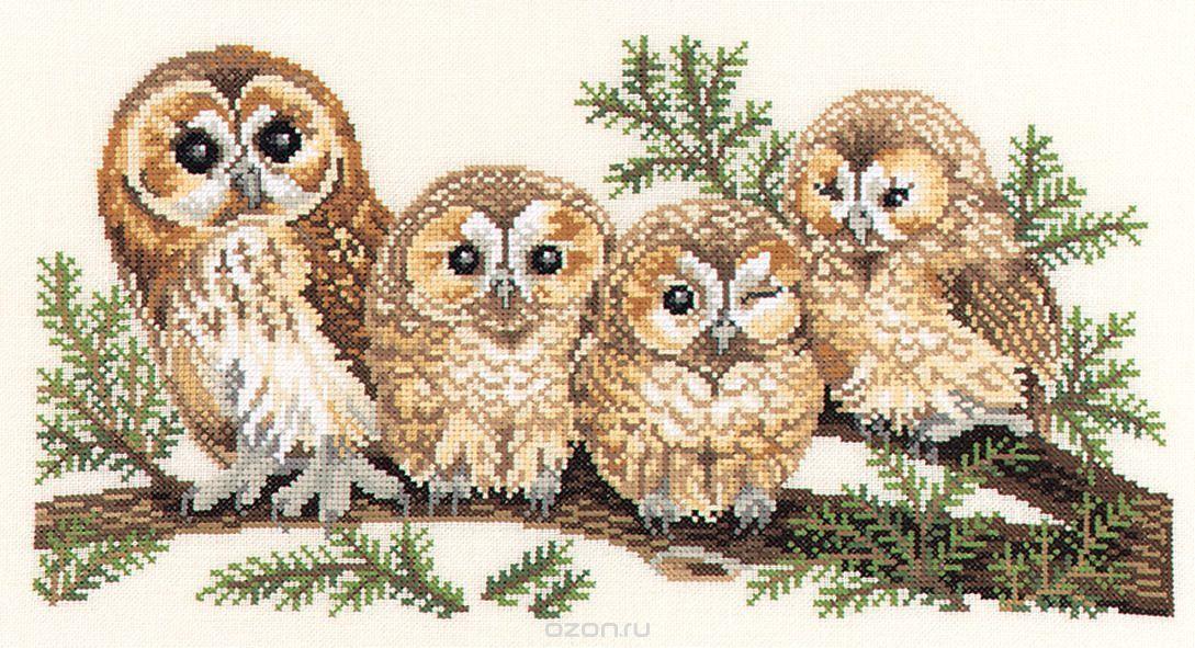 Сова и совята на ветке - набор для вышивания | Кисея ...