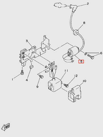 Катушка зажигания с в/проводом  для лодочного мотора T5 Sea-PRO (6-5)