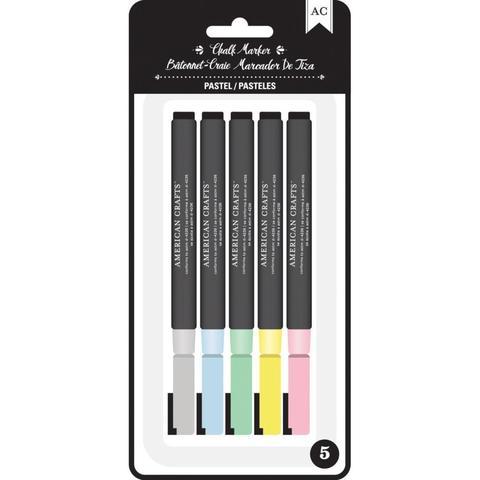 Набор меловых маркеров American Crafts Erasable Chalk Markers- Pastels- 5шт.