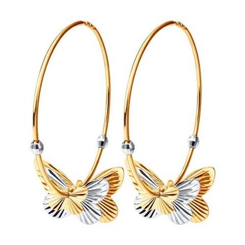 Серьги-конго из золота с подвесками бабочками Ø 50 мм
