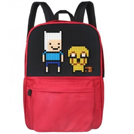 Школьный пиксельный рюкзак Classic School красный с рисунком пикселами